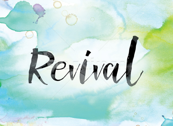 Revival Colorful Watercolor and Ink Word Art Stock photo © enterlinedesign