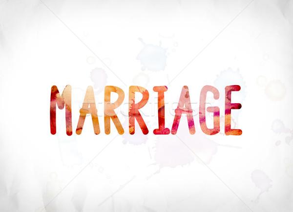 Evlilik boyalı suluboya kelime sanat renkli Stok fotoğraf © enterlinedesign