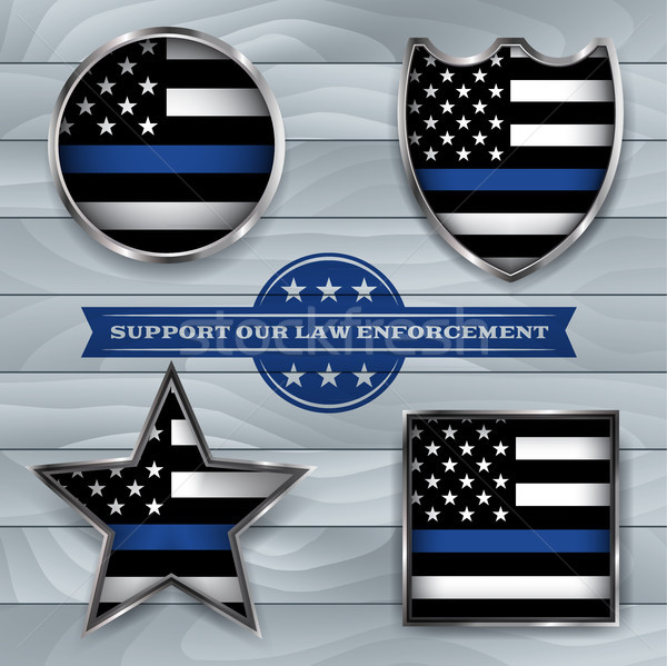 Police Support Flag Badge Illustration Stock photo © enterlinedesign