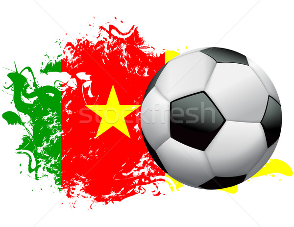 Камерун Футбол Гранж дизайна футбольным мячом флаг Сток-фото © enterlinedesign