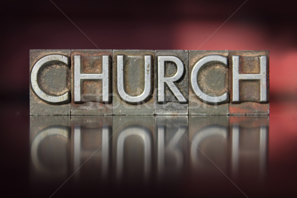 Photo stock: église · mot · écrit · vintage · type