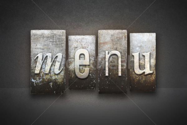 Menü magasnyomás szó írott klasszikus Stock fotó © enterlinedesign