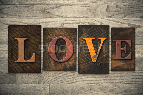 Love Concept Wooden Letterpress Type Stock photo © enterlinedesign