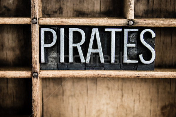 Pirates Concept Metal Letterpress Word in Drawer Stock photo © enterlinedesign