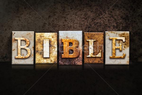 Bible Letterpress Concept on Dark Background Stock photo © enterlinedesign