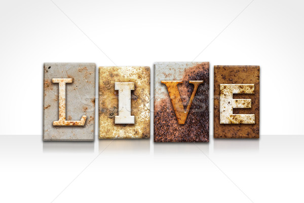 Live Letterpress Concept Isolated on White Stock photo © enterlinedesign