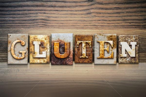 Gluten palabra escrito Rusty metal Foto stock © enterlinedesign