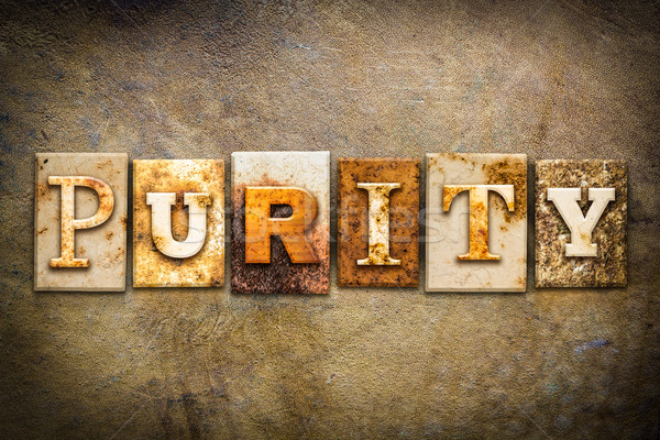 Zuiverheid leder woord geschreven roestige Stockfoto © enterlinedesign