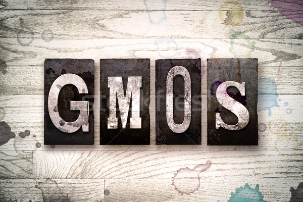 GMOs Concept Metal Letterpress Type Stock photo © enterlinedesign