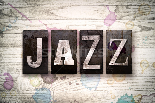 Jazz métal type mot écrit Photo stock © enterlinedesign
