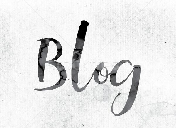 Блог окрашенный чернила слово акварель белый Сток-фото © enterlinedesign