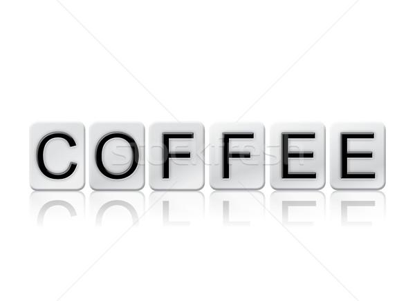 Caffè isolato piastrellato lettere parola scritto Foto d'archivio © enterlinedesign
