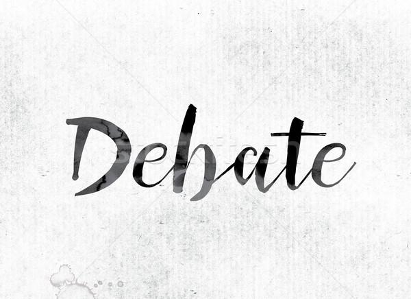 Debata malowany atramentu słowo akwarela biały Zdjęcia stock © enterlinedesign