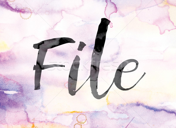 File Colorful Watercolor and Ink Word Art Stock photo © enterlinedesign
