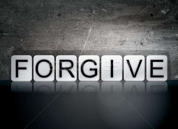 Betegelde brieven woord geschreven witte tegels Stockfoto © enterlinedesign