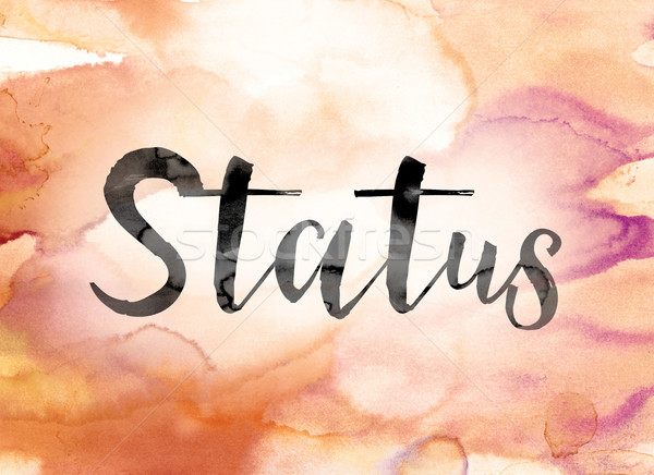 Status Colorful Watercolor and Ink Word Art Stock photo © enterlinedesign