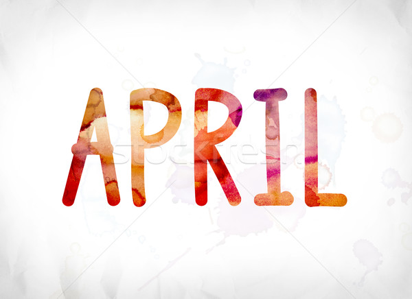 April Concept Painted Watercolor Word Art Stock photo © enterlinedesign