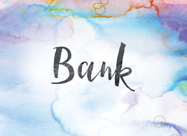 Bank Concept Watercolor and Ink Painting Stock photo © enterlinedesign