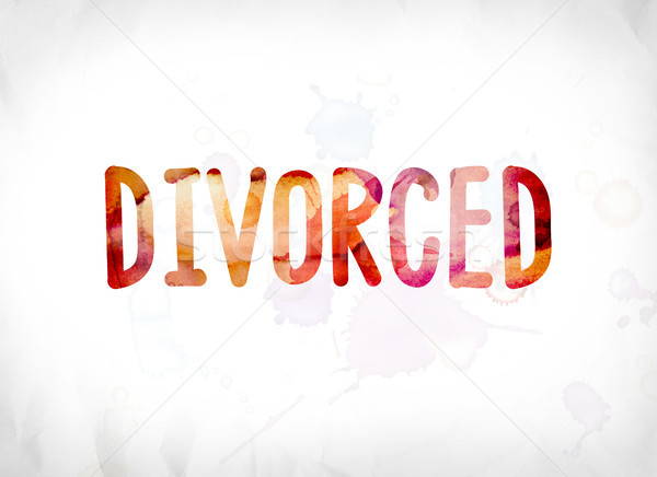 Divorcé peint couleur pour aquarelle mot art coloré Photo stock © enterlinedesign