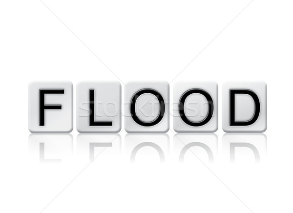 наводнения плиточные слово изолированный белый написанный Сток-фото © enterlinedesign