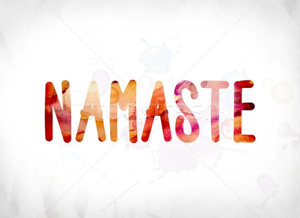 Namaste festett vízfesték szó művészet színes Stock fotó © enterlinedesign