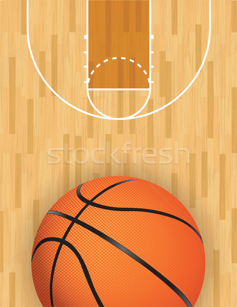 Vector Basketball and Hardwood Court Stock photo © enterlinedesign
