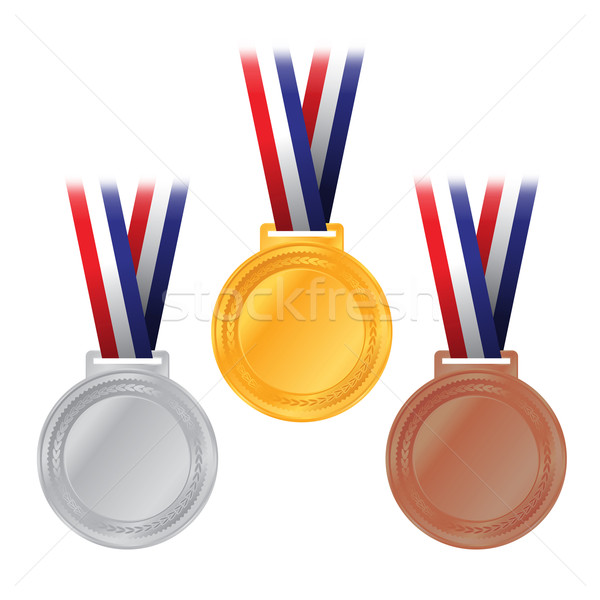 Gold, Silver, and Bronze Medals Illustration Stock photo © enterlinedesign