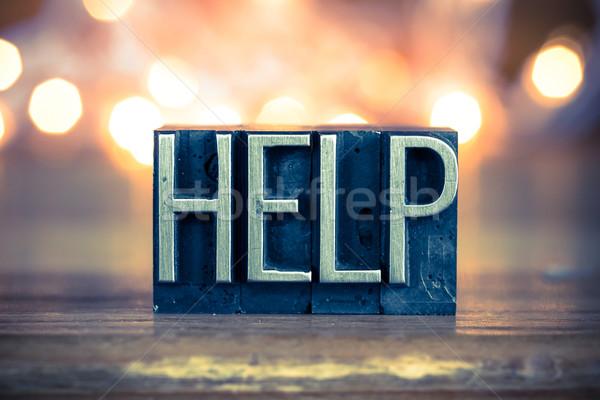 Helpen metaal type woord geschreven Stockfoto © enterlinedesign