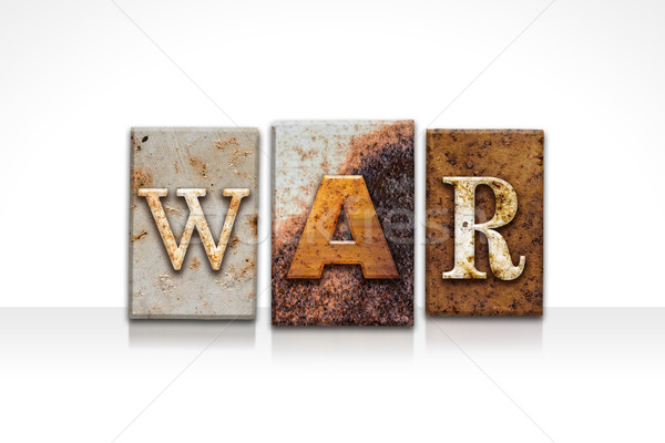 War Letterpress Concept Isolated on White Stock photo © enterlinedesign