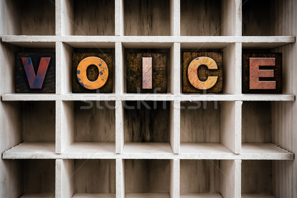 Voice Concept Wooden Letterpress Type in Drawer Stock photo © enterlinedesign