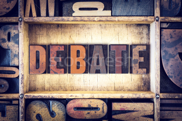 Debat type woord geschreven vintage Stockfoto © enterlinedesign