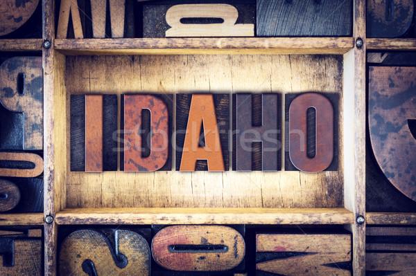 Idaho type woord geschreven vintage Stockfoto © enterlinedesign
