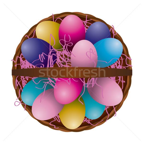 Húsvéti tojás kosár légifelvétel illusztráció egyedi tele Stock fotó © enterlinedesign