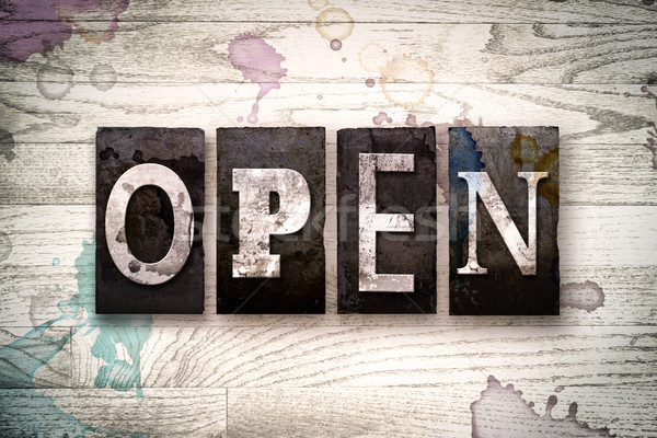 Open Concept Metal Letterpress Type Stock photo © enterlinedesign
