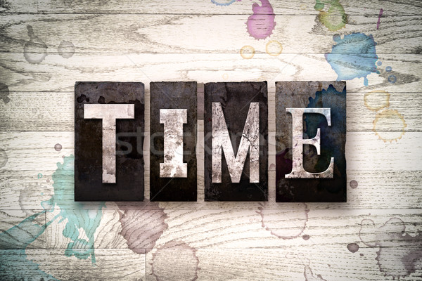 Time Concept Metal Letterpress Type Stock photo © enterlinedesign