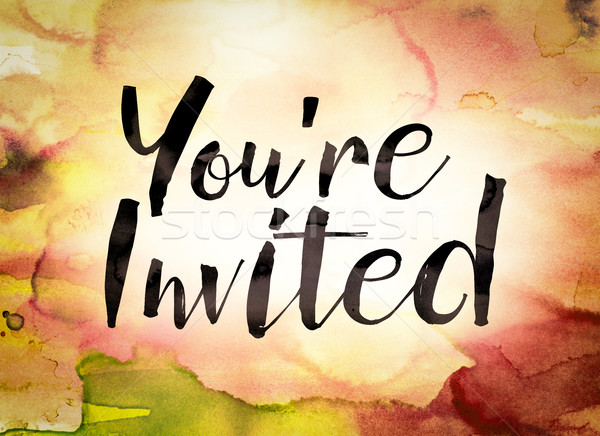 You're Invited Concept Watercolor Theme Stock photo © enterlinedesign