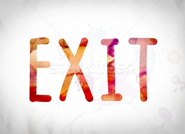 Uitgang aquarel woord kunst geschreven witte Stockfoto © enterlinedesign