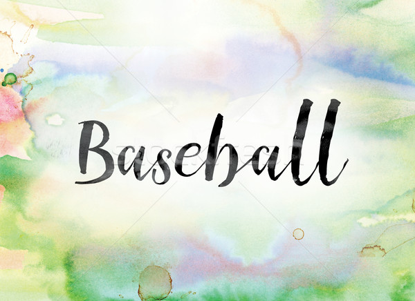 Baseball Colorful Watercolor and Ink Word Art Stock photo © enterlinedesign