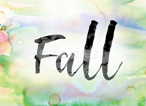 Fall Colorful Watercolor and Ink Word Art Stock photo © enterlinedesign