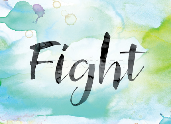 Fight Colorful Watercolor and Ink Word Art Stock photo © enterlinedesign