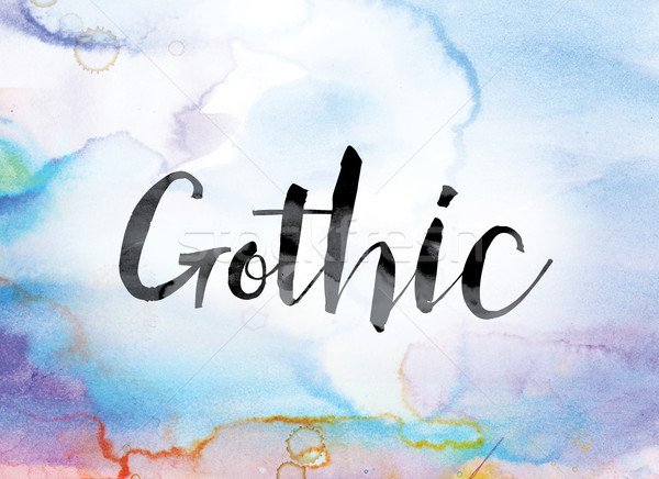 Gothic Colorful Watercolor and Ink Word Art Stock photo © enterlinedesign