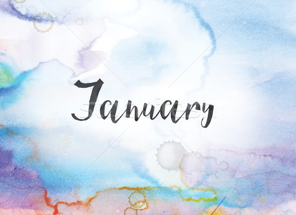 January Concept Watercolor and Ink Painting Stock photo © enterlinedesign
