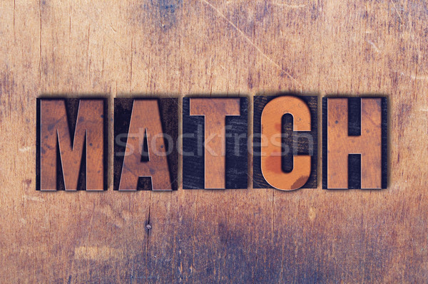 Match mot bois écrit vintage Photo stock © enterlinedesign