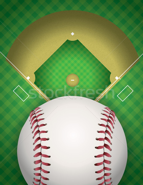 Baseball and Baseball Field Illustration Stock photo © enterlinedesign