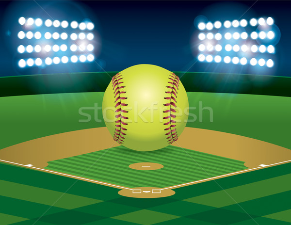 Softball on Softball Field Stock photo © enterlinedesign