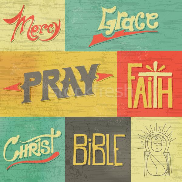 Vintage wiary grafiki zestaw retro Zdjęcia stock © enterlinedesign