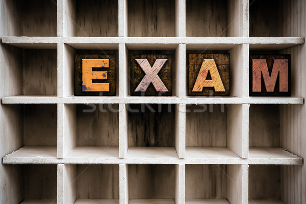 Prüfung Holz Buchdruck Typ ziehen Wort Stock foto © enterlinedesign