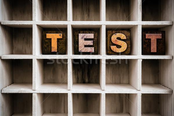 Teszt fából készült magasnyomás fiók szó Stock fotó © enterlinedesign