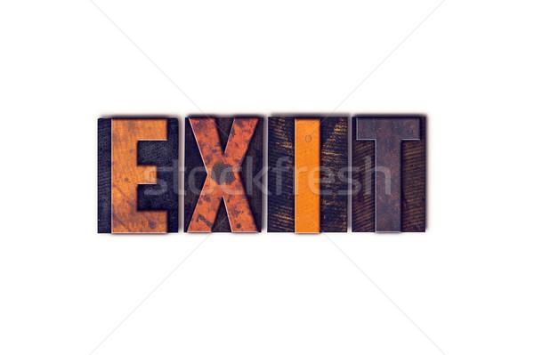Uitgang geïsoleerd type woord geschreven Stockfoto © enterlinedesign