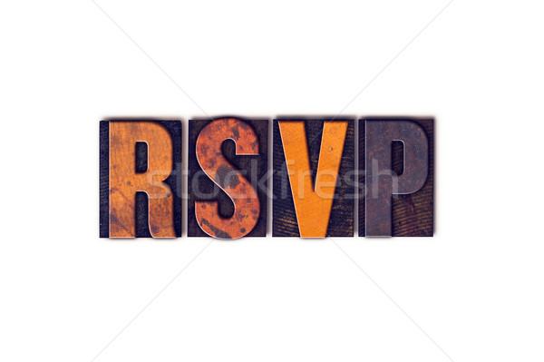 RSVP Concept Isolated Letterpress Type Stock photo © enterlinedesign